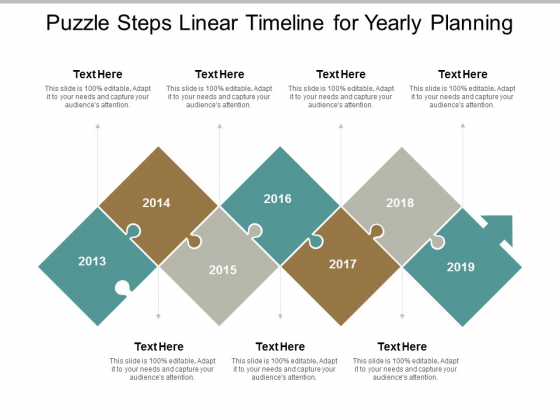 Puzzle Steps Linear Timeline For Yearly Planning Ppt Powerpoint Presentation Slides Maker