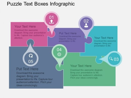 Puzzle Text Boxes Infographic Powerpoint Templates