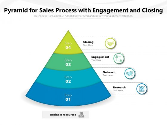 Pyramid For Sales Process With Engagement And Closing Ppt PowerPoint Presentation File Skills PDF