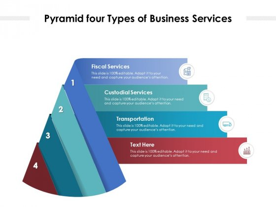 Pyramid Four Types Of Business Services Ppt PowerPoint Presentation Gallery Background Image PDF