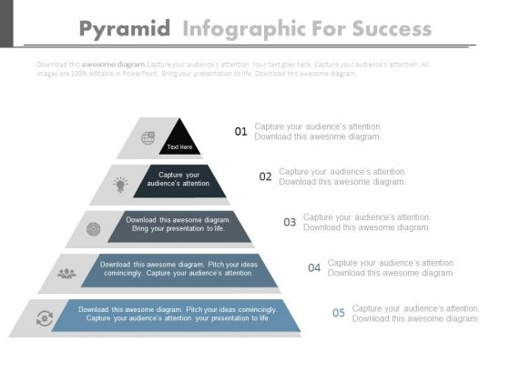 Pyramid Infographics For Marketing Process Powerpoint Slides