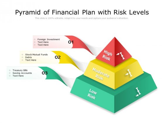 Pyramid Of Financial Plan With Risk Levels Ppt PowerPoint Presentation Ideas Brochure PDF