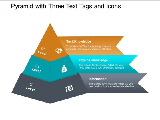 pyramid with three text tags and icons ppt powerpoint presentation ideas show