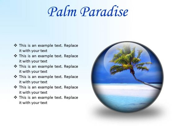 Palm Paradise Beach PowerPoint Presentation Slides C