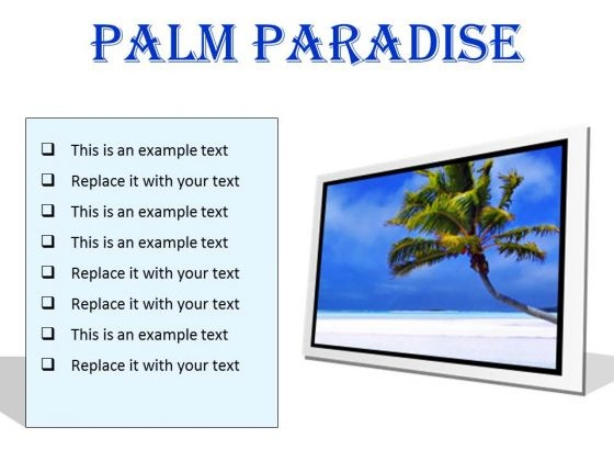 Palm Paradise Beach PowerPoint Presentation Slides F