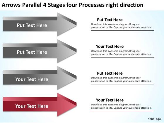 Parallel 4 Stages Four Processes Right Direction Ppt Pizza Business Plan PowerPoint Slides
