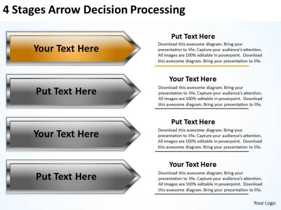 Parallel And Serial Processing 4 Stages Arrow Decision PowerPoint Slides