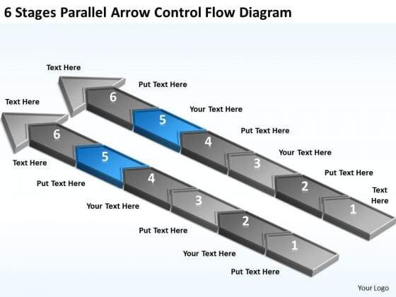 Parallel Arrow Control Flow Diagram Business Plan Template For Restaurant PowerPoint Slides