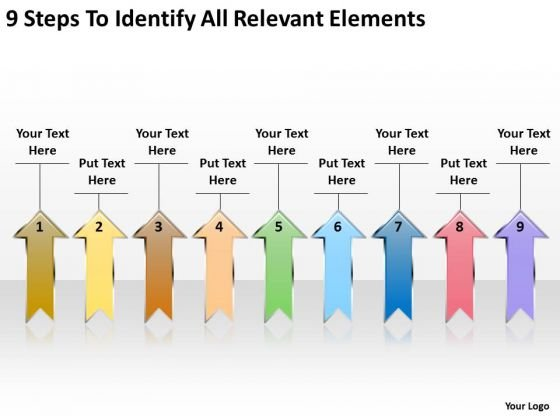 Parallel Arrows PowerPoint 9 Steps To Identify Relevant Elements Slides