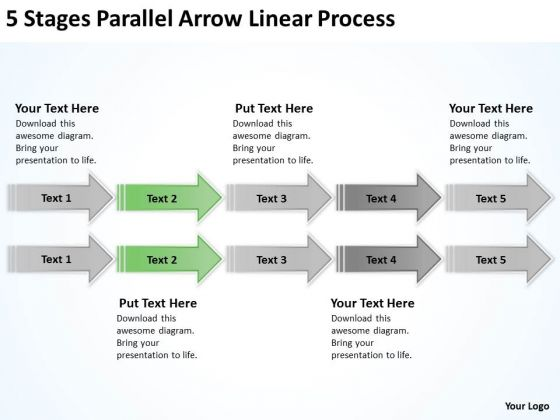 Parallel Arrows PowerPoint Linear Process Templates Backgrounds For Slides
