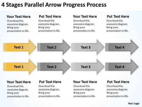 Parallel Data Processing 4 Stages Arrow Progress PowerPoint Slides