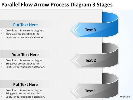 Parallel Flow Arrow Process Diagram 3 Stages Ppt Cafe Business Plan PowerPoint Slides