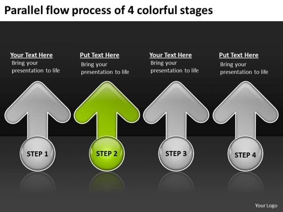 Parallel Flow Process Of 4 Colorful Stages Business Plan Structure PowerPoint Templates