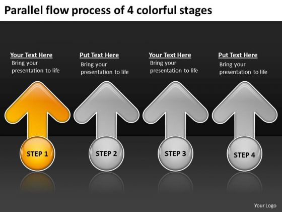 Parallel Flow Process Of 4 Colorful Stages Quick Business Plan PowerPoint Slides