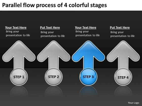 Parallel Flow Process Of 4 Colorful Stages Strategic Business Planning PowerPoint Slides