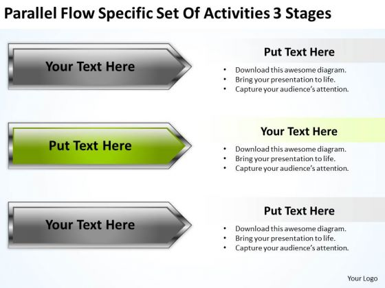 Parallel Flow Specific Set Of Activities 3 Stages Business Pro Plan PowerPoint Templates