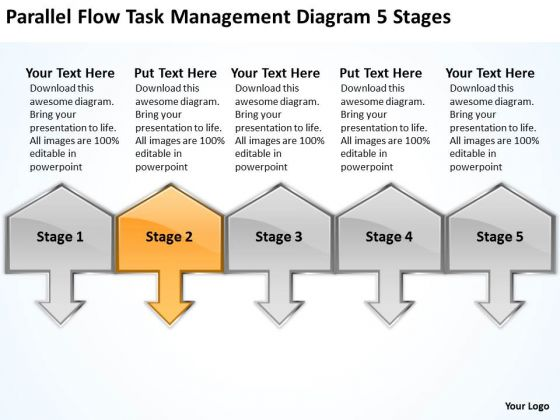 Parallel Flow Task Management Diagram 5 Stages Business Plan Wiki PowerPoint Slides