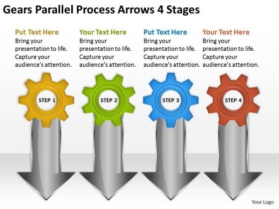 Parallel Process Arrows 4 Stages Business Plans For Small PowerPoint Slides