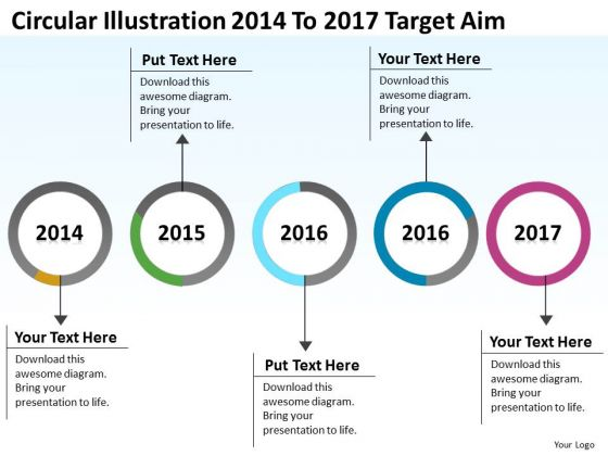 Parallel Process Circular Illustration 2014 To 2017 Target Aim PowerPoint Templates