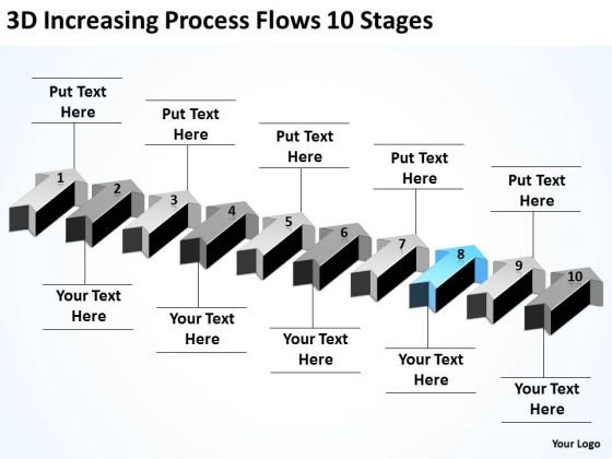 Parallel Processing Applications 3d Increasing Flows 10 Stages PowerPoint Templates