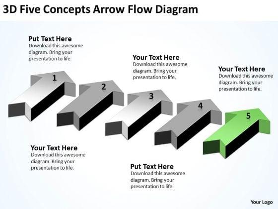 Parallel Processing Definition 3d Five Concepts Arrow Flow Diagram PowerPoint Slides