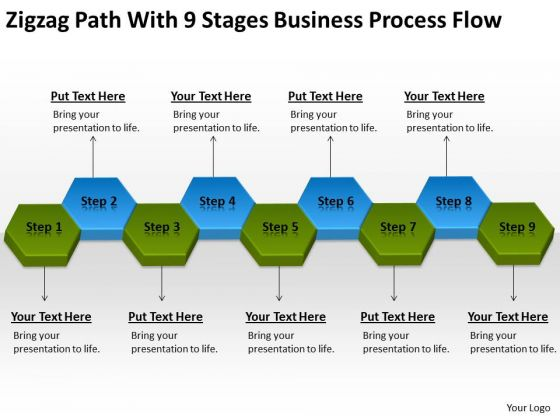 Path With 9 Stages Business Process Flow Ppt Company Plan PowerPoint Templates