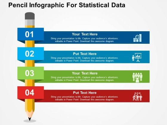 Pencil Infographic For Statistical Data PowerPoint Templates