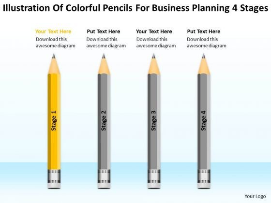 Pencils For Business Planning 4 Stages Ppt Succession PowerPoint Templates