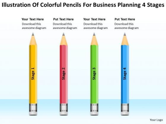 Pencils For Business Planning 4 Stages Ppt Template Free PowerPoint Templates