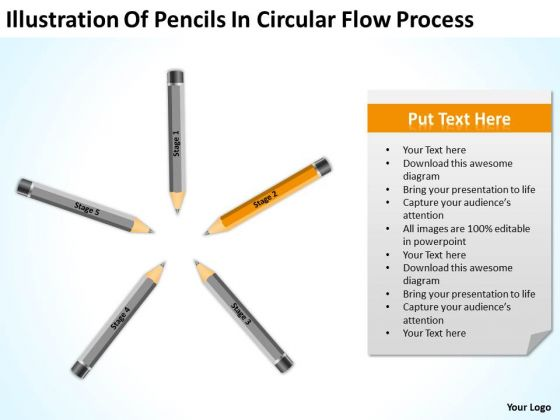 Pencils In Circular Flow Process Business Plan Outline Template PowerPoint Slides