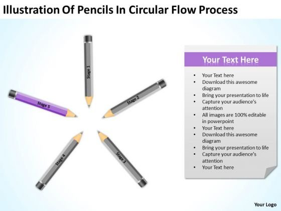 Pencils In Circular Flow Process Ppt Business Proposal Template PowerPoint Slides