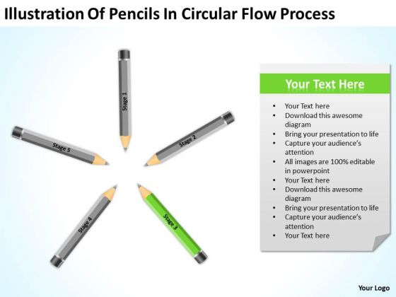 Pencils In Circular Flow Process Ppt Create Business Plan Template PowerPoint Slides