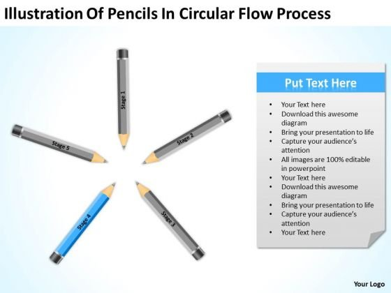 Pencils In Circular Flow Process Sample Small Business Plan PowerPoint Slides