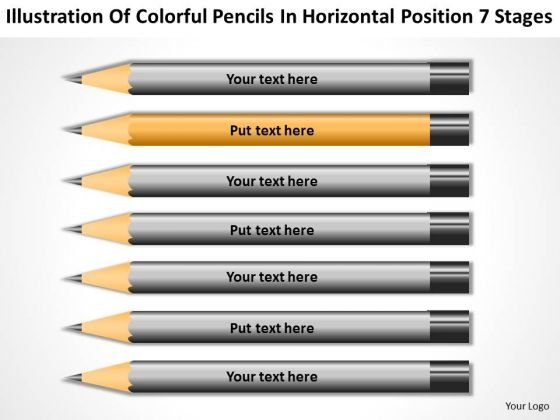 Pencils In Horizontal Position 7 Stages Ppt Examples Of Business Plan PowerPoint Templates