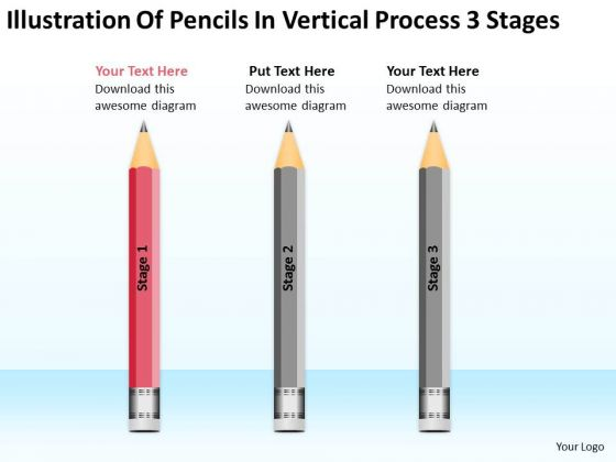 Pencils In Vertical Process 3 Stages Ppt Business Plan Writing PowerPoint Templates