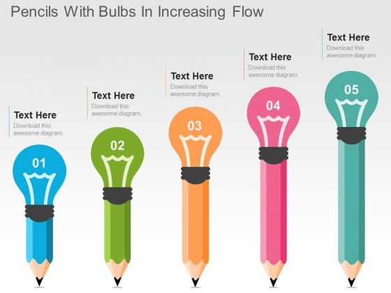 Pencils With Bulbs In Increasing Flow PowerPoint Templates