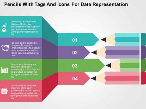 Pencils With Tags And Icons For Data Representation PowerPoint Template
