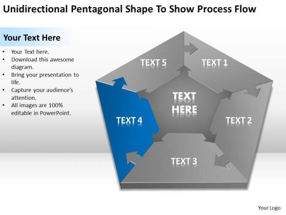 Pentagonal Shape To Show Process Flow Ppt Business Plan For Dummies PowerPoint Slides
