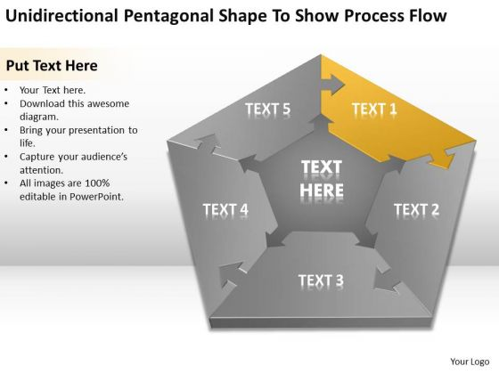 Pentagonal Shape To Show Process Flow Ppt Startup Business Plans PowerPoint Slides