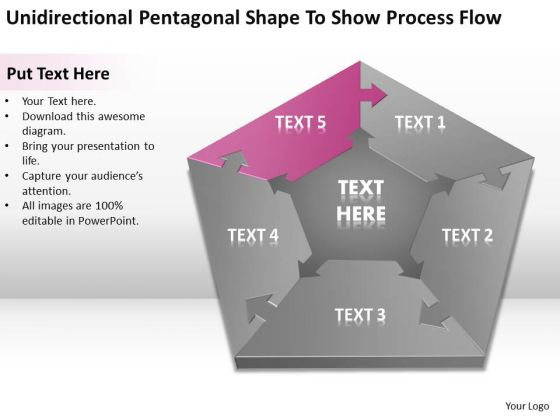 Pentagonal Shape To Show Process Flow Ppt Write Business Plan PowerPoint Slides