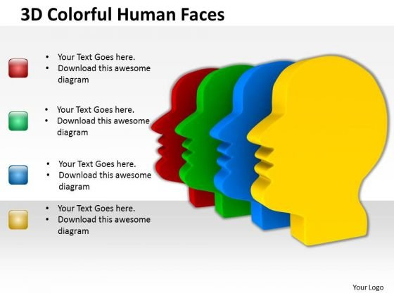 People Business 3d Colorful Human Faces PowerPoint Slides