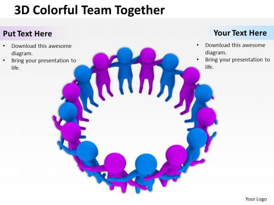 People Business 3d Colorful Team Together PowerPoint Slides