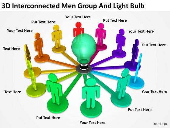 People Business 3d Interconnected Men Group And Light Bulb PowerPoint Slides
