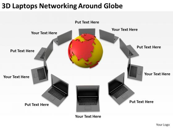 People Business 3d Laptops Networking Around Globe PowerPoint Slides
