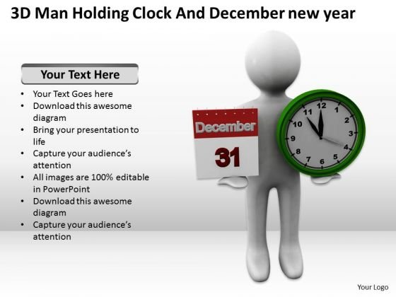 People Business 3d Man Holding Clock And December New Year PowerPoint Slides