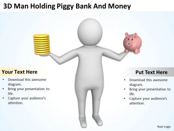People Business 3d Man Holding Piggy Bank And Money PowerPoint Templates Ppt Backgrounds For Slides