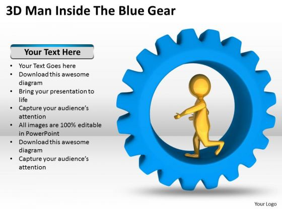 People Business 3d Man Inside The Blue Gear PowerPoint Templates Ppt Backgrounds For Slides