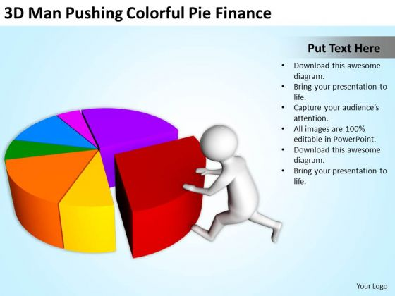 People Business 3d Man Pushing Colorful Pie Finance PowerPoint Templates