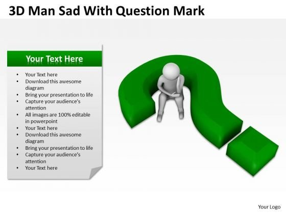 People Business 3d Man Sad With Question Mark PowerPoint Templates Ppt Backgrounds For Slides