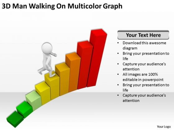 People Business 3d Man Walking On Multicolor Graph PowerPoint Slides